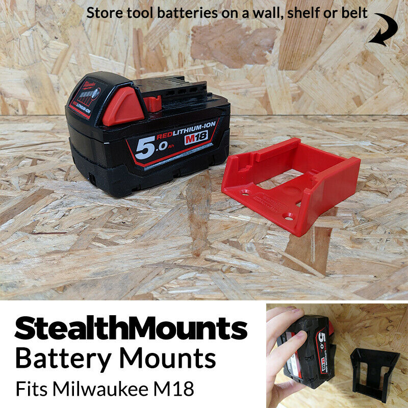 5x RED Battery Mounts for Milwaukee M18 Li Ion Batteries Hol