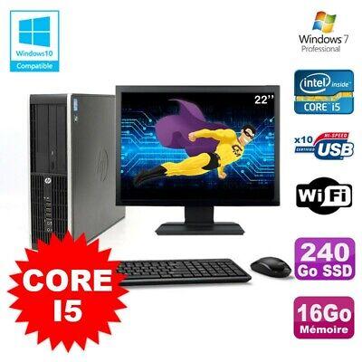 Lot PC HP Elite 8200 SFF Core I5 3.1GHz 16Go 240Go SSD DVD WIFI W7 + Ecran 22