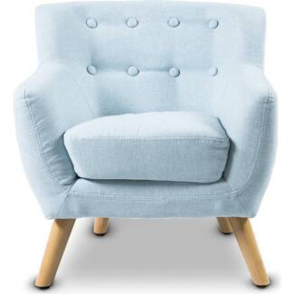Lorraine Fabric Kids Accent Armchair in Light Blue NEW