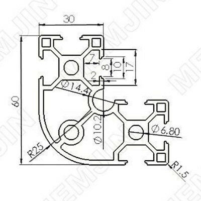 3060dr 30x60mm T-slot Aluminum Extrusion 30 Series Length100200300400500mm
