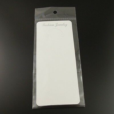 19.56cm Paper White Jewelry Case Necklace Display Hanging Card With Bag 100pcs