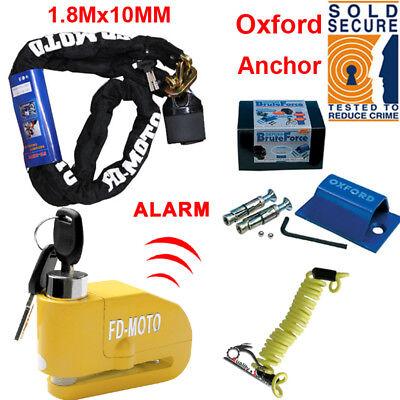 1.8M Motorbike Motorcycle Chain Lock & Disc Lock Alarmed + Oxford Ground Anchor