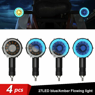 4X Motorcycle LED Sequential Flowing Turn Signal Indicator Light Amber Blue Lamp