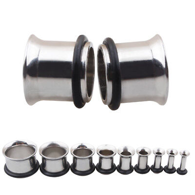 (Pair Surgical Steel Flesh Tunnels Single Flare Ear Plugs Earring Expanders Ring)
