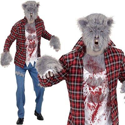 Komplette Zombie Kostüm (Herren Kostüm WERWOLF Zombie Komplettset mit Maske Halloween Gr. 48 50 52 54 56)