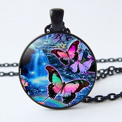 Beautiful Butterfly Glass Cabochon Black Pendant Necklace Chain Jewelry Gifts