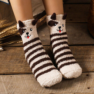 Women Girls Cartoon Animals Socks Novelty Winter Soft Sox Christmas Gifts 2018 - Novelty Christmas Gifts