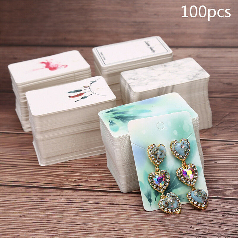 Details About 100pcs Lot Paper Necklace Earrings Display Packing Cards Jewelry Ornament Diy Sl