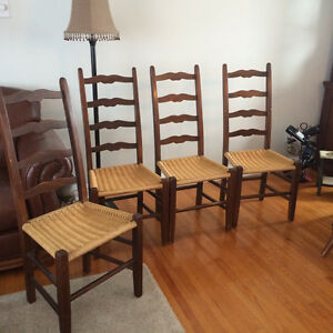 Set of Vintage Antique Ladder Back Chairs