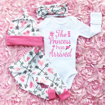 4PCS Newborn Infant Baby Girl Outfits Clothes Set Romper Bodysuit+Pants Leggings 100% Cotton Bodysuit Set