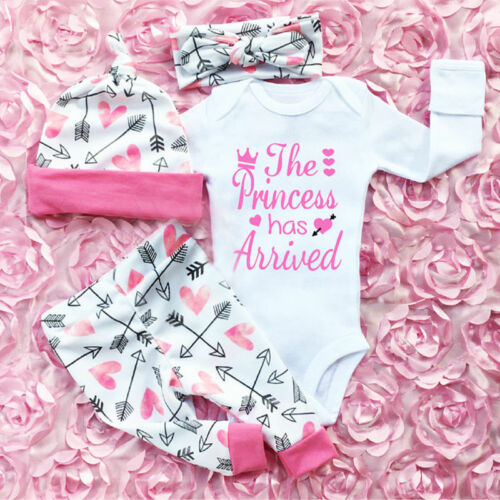 US Newborn Baby Girls Clothes Romper Jumpsuit + Floral Pants