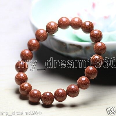 - Genuine 10mm Natural Goldstone Round Gemstone Beads Stretch bracelet Bangle
