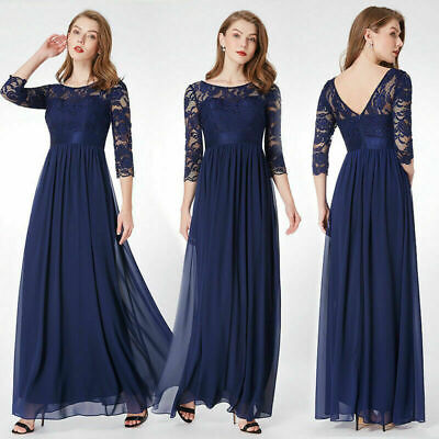 Bride Formal Evening Dress - Ever-Pretty US Women Mother Of Bride Gowns Navy Lace Formal Evening Dress 07412