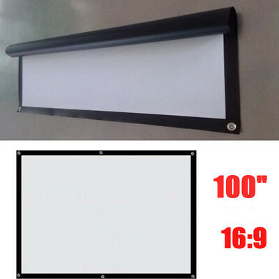 """100"""" 16:9 Manual Pull Down Projector Projection Screen Home Theater Party Movie"""