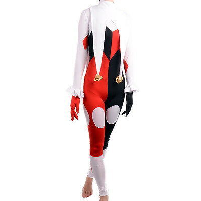 Harley Quinn Costume adult sexy jumpsuit spandex catsuit Clown cosplay halloween ()