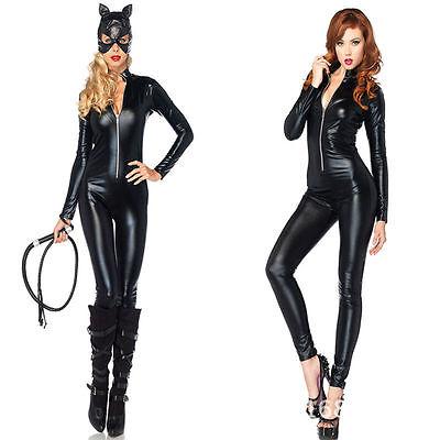 Shiny Black Spandex Vinyl Catsuit Catwoman Bodysuit Costume Fancy Dress - Black Catwoman Bodysuit
