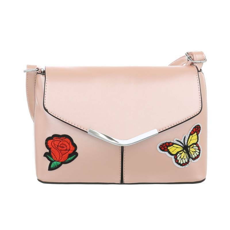 Schultertasche Rosa Schmetterling Blume Patch Handtasche Tasche Metallic Glitzer