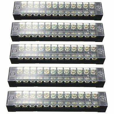 5x Dual Row 12positions Screw Terminal Electric Barrier Strip Block 600v 15a Wis