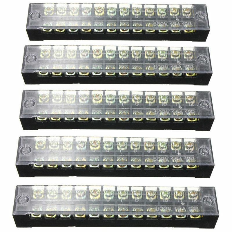 5X Dual Row 12Positions Screw Terminal Electric Barrier Strip Block 600V 15A USA