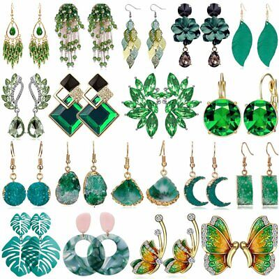 Boho Green Crystal Statement Earrings Women Drop Dangle Wedding Party Jewelry