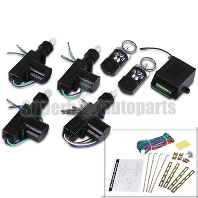 For 4 Door Power Central Lock Kit 2 Keyless Entry Car Remote Control Conversion