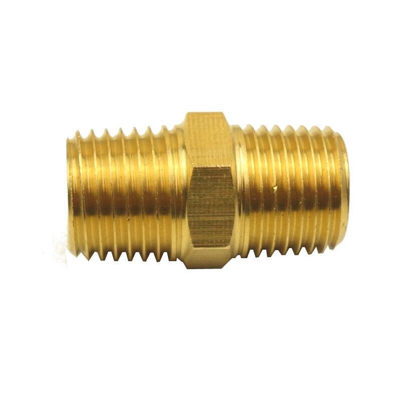 "5pcs Brass Pipe Fitting Adapter Hex Nipple 1/8"" NPT X 1/8"" NPT Air Gas Water"