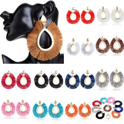 Fan Shape Earrings - Women Big Fan Shape Hoop Tassel Fringe Ear Stud Dangle Earrings Fashion Jewelry