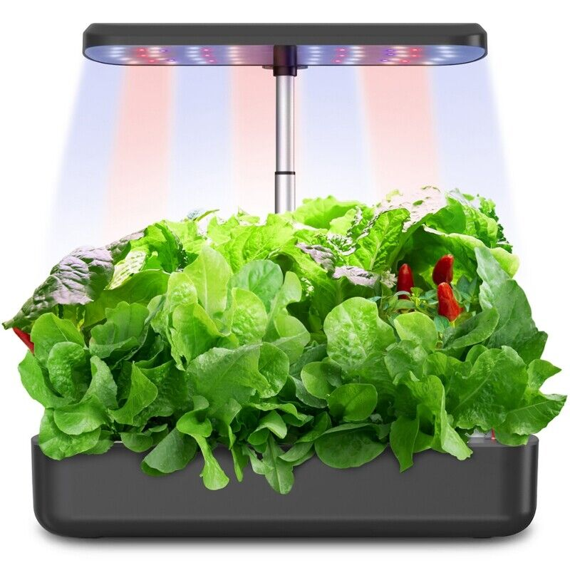 Hydroponic Growing System Indoor Herb Garden Starter Kit LED Grow Light 10  Pots