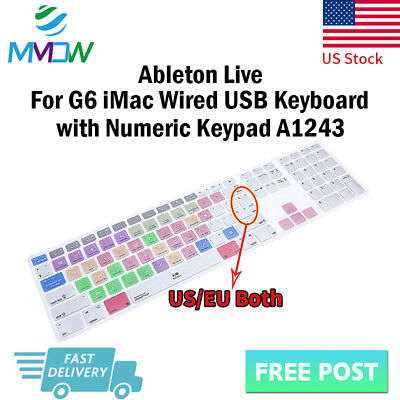 Ableton Live Shortcuts Silicone Keyboard Cover for iMac G6 Numeric Keypad A1243
