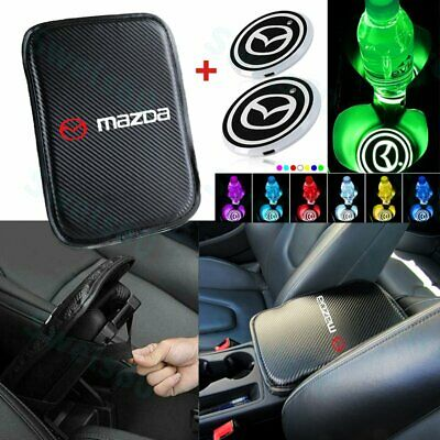 Embroidery For MAZDA Center Armrest Cushion Mat Pad Cover + LED Cup Coaster Set