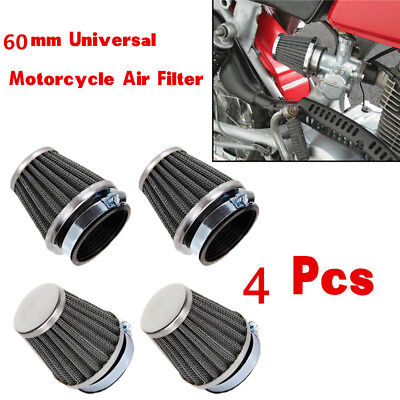 4x60mm Inlet Cold Air Intake Tapered Chrome Pod Air Filters Clean for Motorcycle