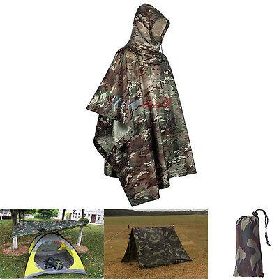 3 in 1 Military Raincoat Waterproof Motorcycle Rain Poncho for Camping Fishing