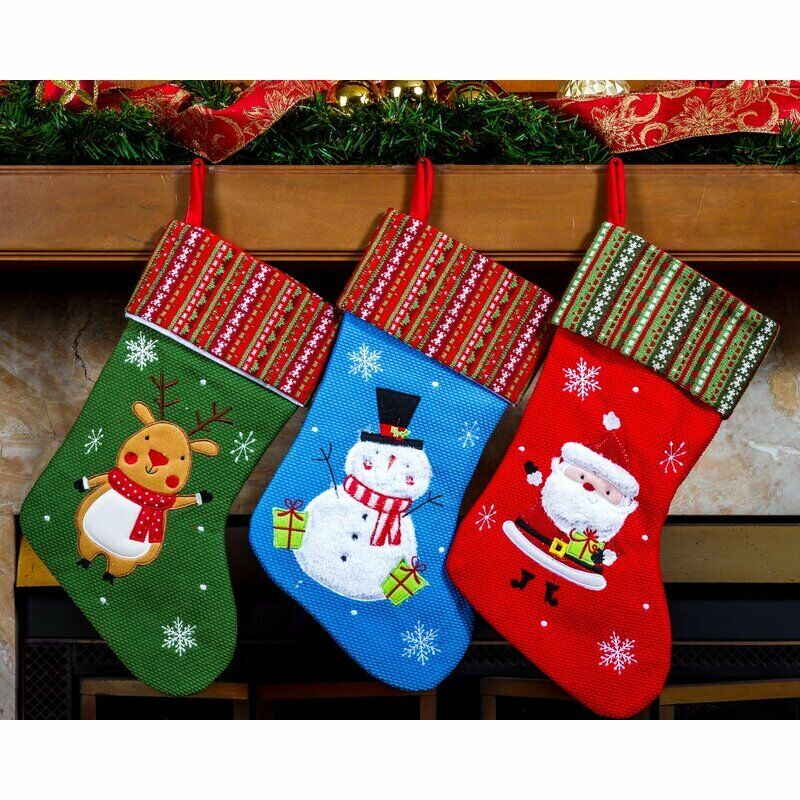 Costyleen Large Size Christmas Stockings Reindeer Stars 3PC Set Xmas Decorations Gift Holding Home Decors Tree Ornament Deer 23 inches Khaki