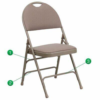 Flash Furniture Hercules Padded Metal Folding Chair In Beige