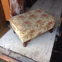 Small Vintage Floral Foot Rest Stool