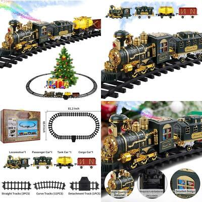 FiGoal Electric Christmas Train Set with Smoke and Sounds. Battery Operated Clas