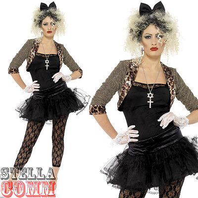 Ladies Wild Child Madonna 80s Fancy Dress Costume 1980s Outfit Size 12-22