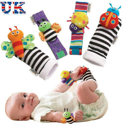 UK Lamaze Rattle Set Baby Sensory Toys Foot-finder Socks Wrist Rattles Bracelet