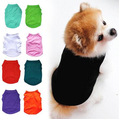 Pet Dog Cat Summer Plain Clothes Pure Color T-Shirt Puppy Cotton Vest Costumes
