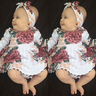 - USA Stock Newborn Baby Girls Long Sleeve Floral Dresses 2PCS Outfit Clothes wea