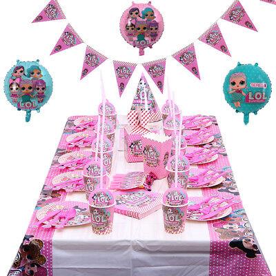 LOL Überraschung Geburtstagsparty Dekor Kinder Mädchen Tasse Teller Tischdecke