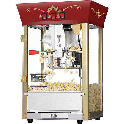 الة صنع الفشار جديد NEW Commercial Popcorn Popper Maker Machine Red Antique Fund Raising Event Movie