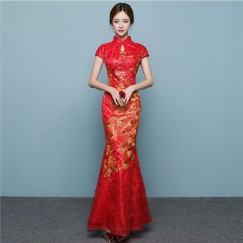 Cheongsam Traditional Chinese Wedding Dress Qipao Oriental Evening Dress XS
