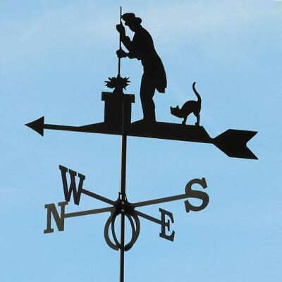 Large Black Steel Chimney Sweep Weathervane