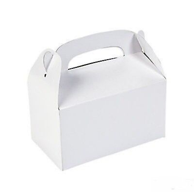 Holiday Treat Boxes ( 6 White Treat Boxes Goody Birthday Party Favors Gifts )