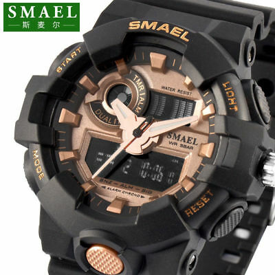 SMAEL Digital Analog Sport Military 3D Big Dial Heavy Duty Mens Wrist Watch 5ATM