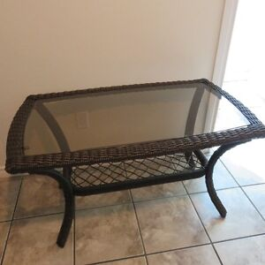 WICKER PATIO SOFA TABLE WITH SHELF GARDEN FURNITURE