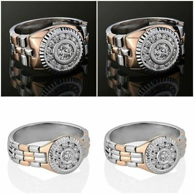 925 Wedding Band Style Ring - Couple Watch Band Style 925 Silver White Topaz Ring Wedding Party Jewelry