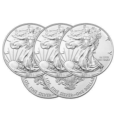 Lot of 5 Silver 2020 American Eagle 1 oz. Coins .999 fine silver US Eagles 1oz