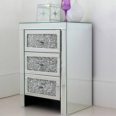 3 Drawers Sparkling Mirrored Glass Bedside Cabinet Crushed Crystal Diamond Table